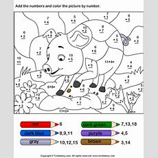 Add And Color Pig Using Color Key Worksheet  Turtle Diary