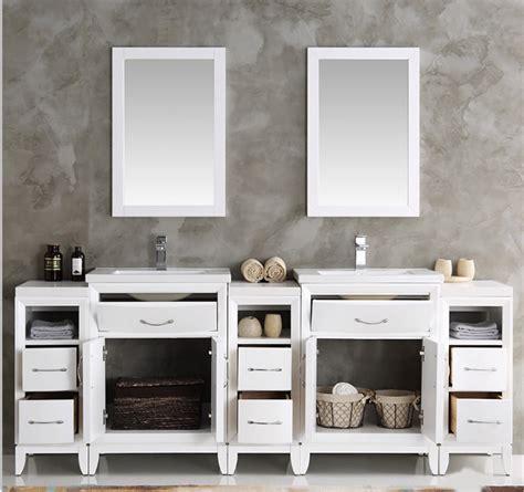 white double sink traditional bathroom vanity