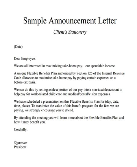 sample announcement letter templates   ms