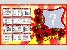 Lindo Calendario 2019 com Flores Vermelhas Adicione sua Foto!