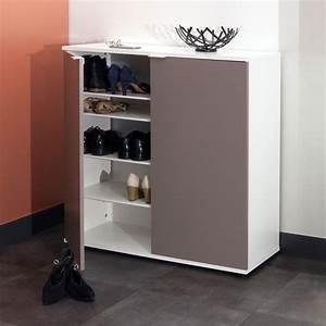 Meuble à Chaussures But : meuble chaussures 2 portes blanc taupe 4178a2191a53 achat vente meuble chaussures sur ~ Teatrodelosmanantiales.com Idées de Décoration