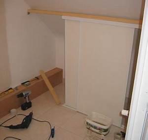 Construire Un Placard : porte coulissante mansarde menuiserie image et conseil ~ Premium-room.com Idées de Décoration