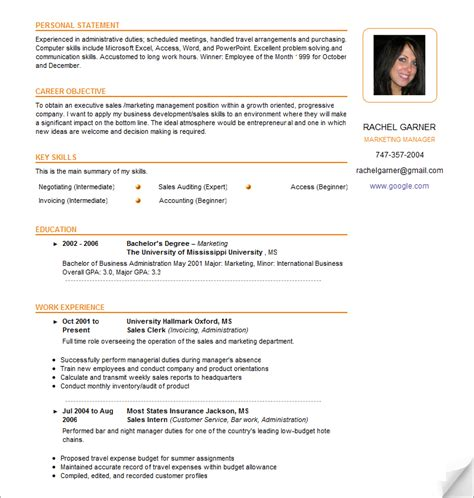 simple effective resume template sle resume template learnhowtoloseweight net