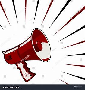 Red Megaphone Announcement Over Starry Square Background ...