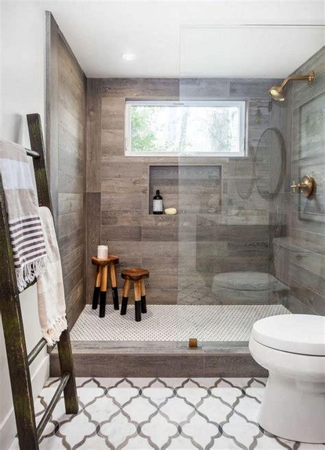 wood tile shower ideas  farmhouse master bathroom