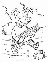 Coloring Pigs Three Road Pig Stick Map Sick Brick Cartoon Wolf Printable Drawing Bricks Runner Sheet Sheets Yellow Heals Jesus sketch template