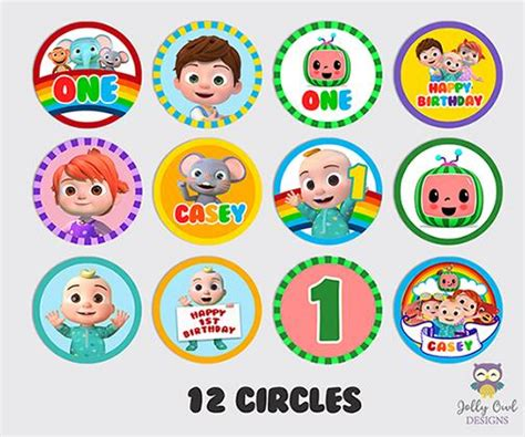 cocomelon birthday party personalized cupcake topper