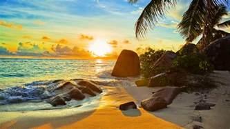 tropical beach at sunset wallpaper hd 985 wallpapers13 com