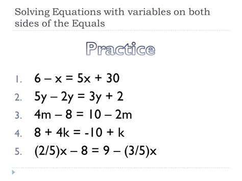 how to solve equations with 2 variables on each side