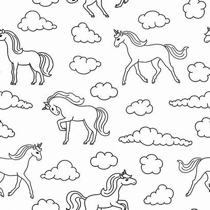 Unicorn Unicorns Coloring Fisuras Patroon Clouds Pattern
