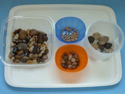 sorting stones beans  images montessori