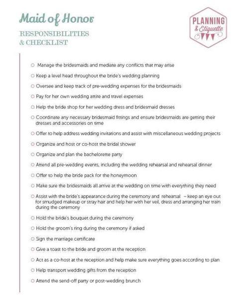 printable wedding party duties checklist maid  honor