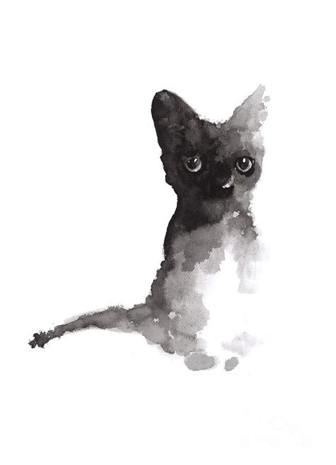 Abstract Black Cat Watercolor by Black Cat Print Watercolor Painting Painting By Joanna
