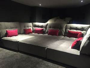 tapas in a basement media room perfect for the family to With theater sofa bed