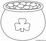 Coloring St Pot Gold Patrick Shamrock Patricks sketch template