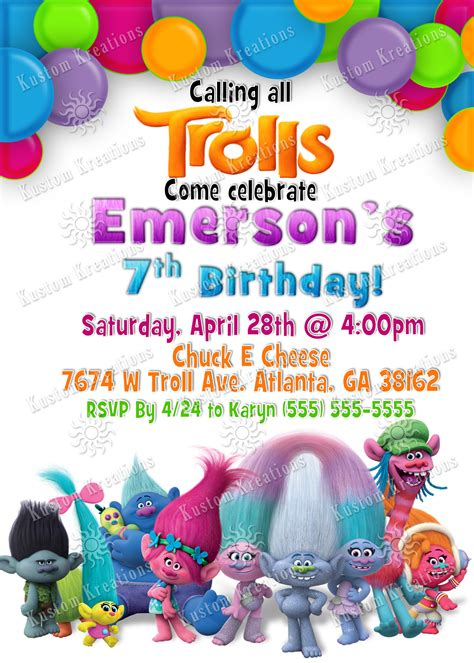 Trolls Invitation Templates Free by Trolls Birthday Invitations Kustom Kreations