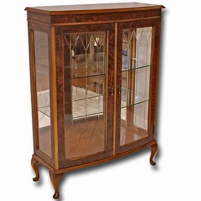 Cabinet Display Door Bow Walnut Reproduction Antique