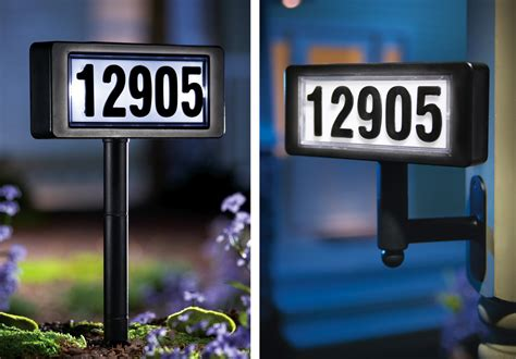 solar powered lighted home address sign or garden yard