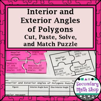 interior exterior angles of polygons cut paste solve