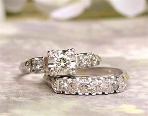 Vintage engagement ring set 055ctw diamond vintage illusion for Vintage wedding rings sets