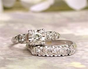 Vintage engagement ring set 055ctw diamond vintage illusion for Vintage wedding rings sets
