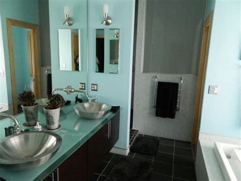 Gray White And Aqua Bathroom by Just Julie 187 Archive 187 The Bathroom Fraud