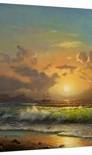 Sailboat Against A Background Of Sea Sunset, Oil Painting ...