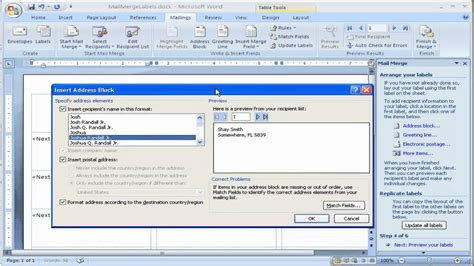 how to create labels using mail merge in microsoft word 2007 youtube