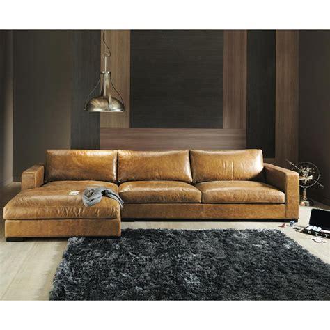 Eck Ledersofa Braun vintage brown leather sectional corner sofa seats 3 4