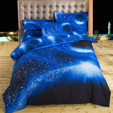 2017 3d bedding sets universe outer space blue galaxy new