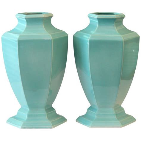large pair of deco trenton nj topeco hexagonal aqua turquoise urns vases for sale at 1stdibs