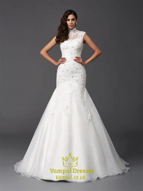 high neck cap sleeve mermaid ball gown wedding dress