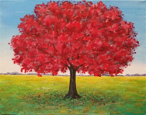 red oak tree landscape acrylic painting tutorial