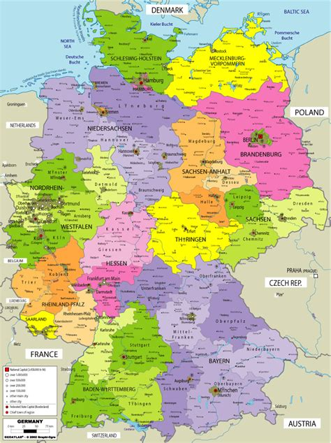 large political map  germany