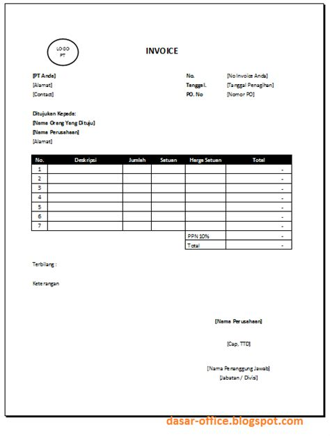 Invoice Contoh by Contoh Invoice Template Excel Tentoh
