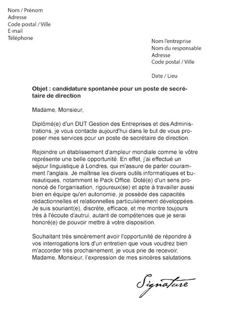 lettre de motivation secretaire de direction lettre de motivation secr 233 taire de direction mod 232 le de lettre