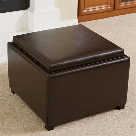 leather ottoman with storage and tray elegant design brown leather tray top storage ottoman