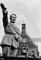 German dictator Adolf Hitler giving the Nazi salute from ...