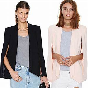 New Ladies Women Long Sleeve Lapel Cape Poncho Office ...