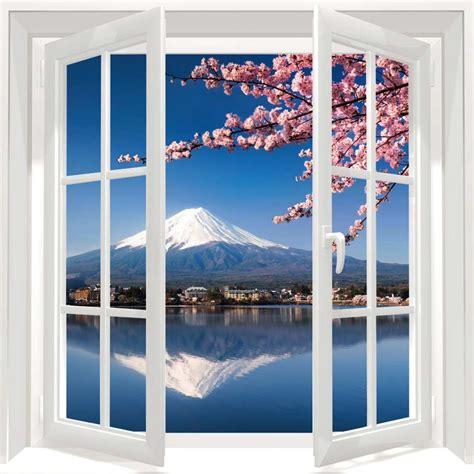 chambre pour homme tableau cerisier japonais et mont fuji derrière la fenêtre