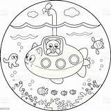 Coloring Submarine Under Water Sous Wasser Unter Coloritura Sotto Sommergibile Acqua Marin Coloration Eau Animals Domestic Fishing Fish Animal Cat sketch template