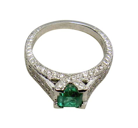 ct colombian natural emerald diamond ring platinum ebay