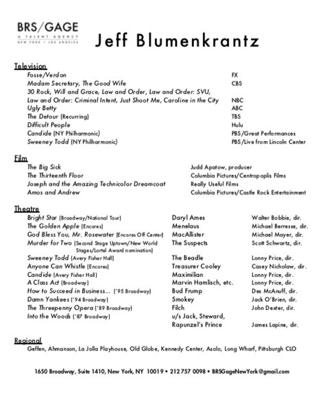 Z Resume by Jeff Blumenkrantz S Picture And Resume Here