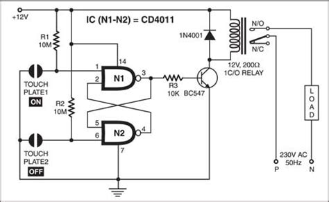 Simple Touch Sensitive Switch Detailed Circuit Diagram
