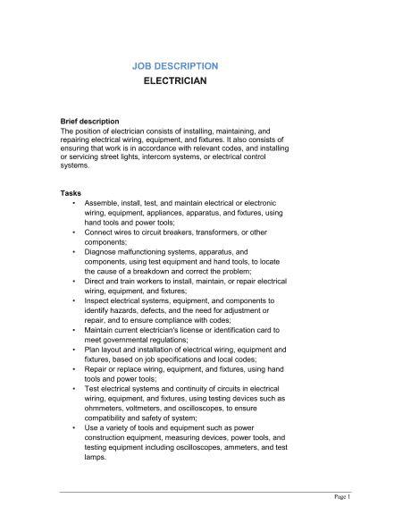Electrician Job Description Template – Word & PDF   By