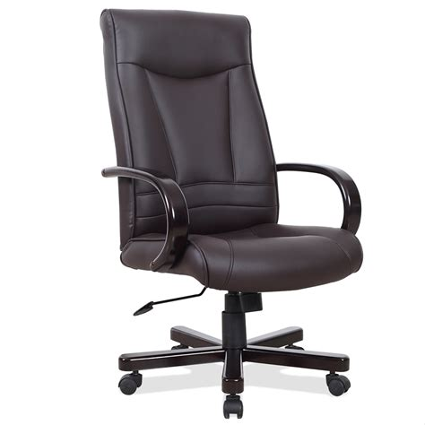 leick brown faux leather executive office chair with