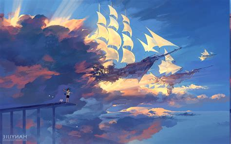 anime ship clouds sunlight fantasy art wallpapers hd