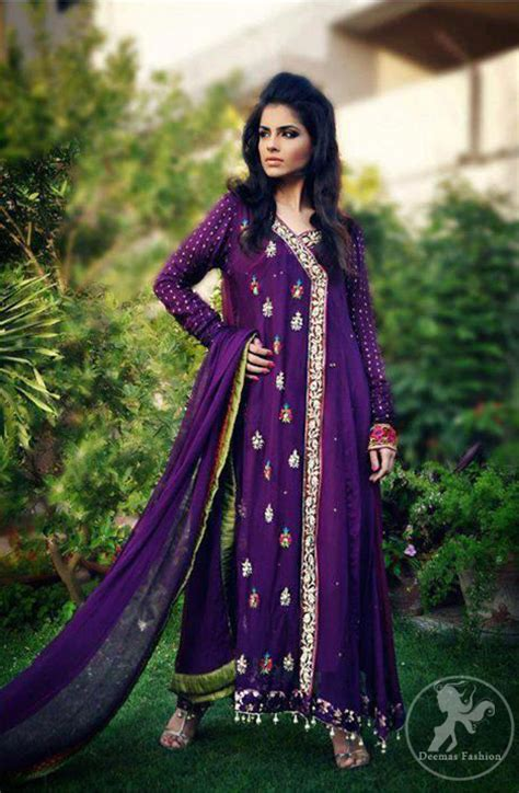 purple aline casual angrakha style dress pakistani