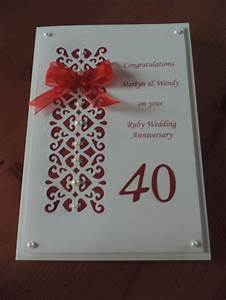 1000 images about special wedding anniversary cards on With handmade ruby wedding invitations