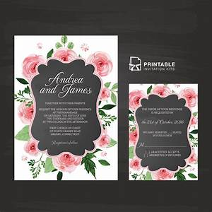 chalkboard and rose frame invitation and rsvp wedding With free printable rose wedding invitations
